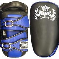 MMABLAST Top King Kicking Pads Ultimate (Curved) TKKPU (CV)-Negro/Azul, S, Negro/Azul