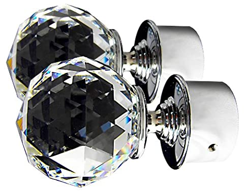 TEZ® Crystal Glass Curtain Pole Finials - Clear Facet Cut Ball Crystal Head - 60mm Crystal Dia - Sold as a pair - Finish: Shiny Chrome - Suitable for poles up to 30mm diameter, ideal for poles between 26mm to 30mm