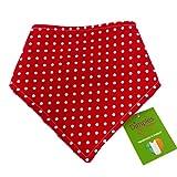Dimples Hundehalstuch - Rot gepunktet/Punkte (Handgemacht für alle Größen und Rassen) 40cm