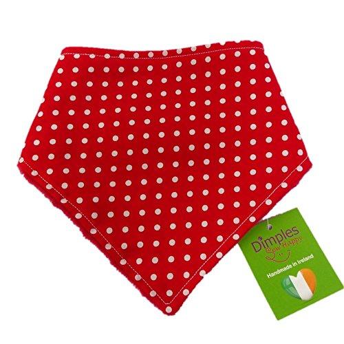 Dimples Hundehalstuch - Rot gepunktet (Handgemacht für alle Größen und Rassen) 25cm