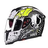 LL Motorrad Full Helm Doppel-Visor Full Face Motorbike Outdoor Männer und Frauen,1,XL