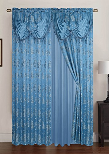 Rt designers collection clayton jacquard doppia coppia tenda a pannello con 45,7 cm attaccato mantovana, blu, 108 x 213,4 cm