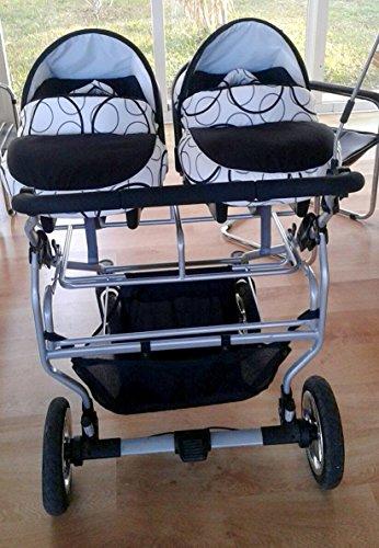 poussette combin e 3 en 1 pour jumeaux avec 2 cosy 2 nacelles 2 si ges auto groupe 0 ombrelle. Black Bedroom Furniture Sets. Home Design Ideas