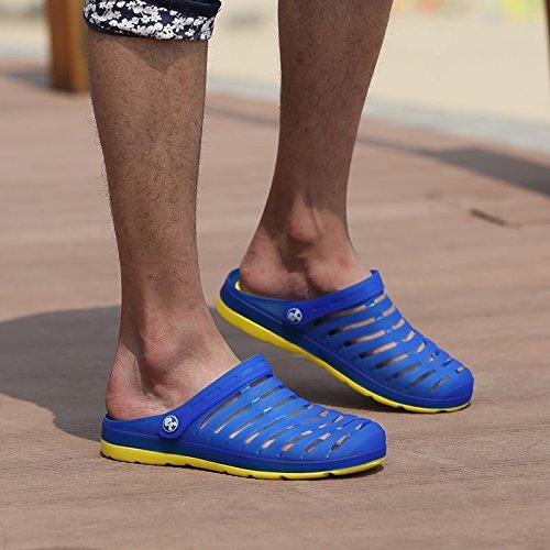 Xing Lin Beach Flip Flop Estate Uomini Foro Pantofole Scarpe Scarpe Da Spiaggia Alla Moda Di Metà Femmina Pantofole Coppie Di Grandi Dimensioni Sandali 233-1 Sapphire yellow