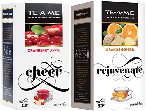 Te-a-me Orange Ginger Infusion Tea & Cranberry Apple Fruit And Flower Herbal Tea Infusion Tea Combo - 50 Tea Bags