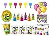 XXL Party Deko Set Monster Party Kindergeburtstag für 6 Personen bunt Mädchen Junge Bunte Monster Party