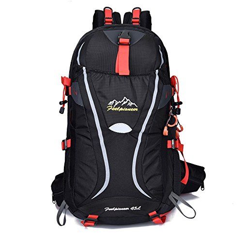 sfeibo 45L Nylon Wasserdicht Big Rucksäcke Outdoor Camping Klettern Wandern Reise Taschen schwarz - schwarz