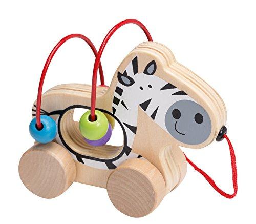 Joueco Mini-Motorikschleife Motorikspiel Hinterherziehtier Spielschleife für Kleinkinder mit bunten Kugeln und schönem Zebra Motiv aus Holz