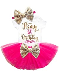 Esclusivo First Birthday Kid's Cotton Romper and Skirt (Pink, 12-18 Months) - Set of 3