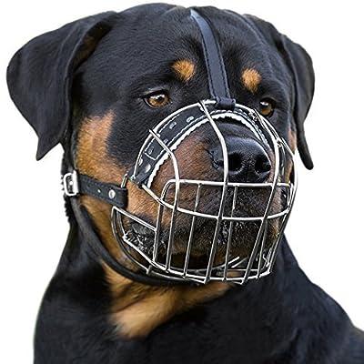 BronzeDog Dog Muzzle Wire Basket Rottweiler Adjustable Leather Straps by BronzeDog