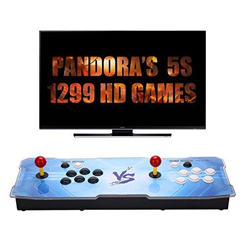 SeeKool Console per videogiochi, Arcade Machine 1299 giochi classici, Pandoras Box 5S Plus multiplayer Home Joystick Arcade Console con 1299 giochi arcade 1280 * 720 Full HD, supporto completo PS3