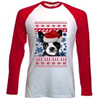 Teesquare1st SANTA BOSTON TERRIER 1 CHRISTMAS Tshirt con maniche rosse lunghe