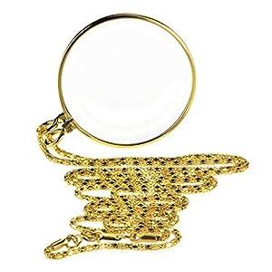 Lupe Halskette Anhänger 5X Leselupe klare Lesevergrößerungsglas HD für Senioren Kinder Buch Zeitung Lesen Computer 56 * 46 * 6mm Gold Silber