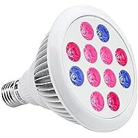 LE Luz Cultivos Interiores LED 12W, Luz Roja (660nm y 630nm) Azul (460nm), Haz de Luz de 30°, E27 PAR38