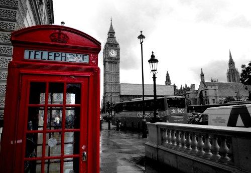 Londra, cabina telefonica rossa City Scene-Quadro su tela, House of Parliament-stampa Big Ben London Eye No24(* * amazing con cornice di qualità su telai in legno di pino spesso * *)-76,2x 50,8cm Stunning Canvas Art poster Stampa, Pronto A appendere nuovo
