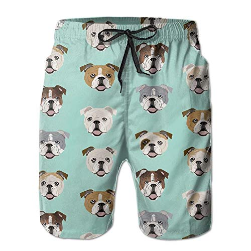 Men's English Bulldog Faces Fabric Cute Mint Dog Face Design Fashion Beach Pant Tide Stamp Shorts XX-Large