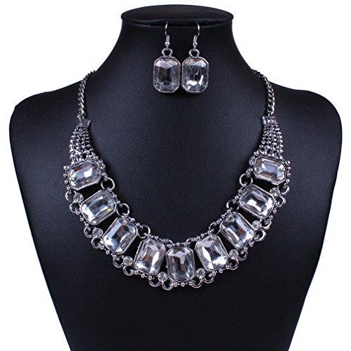 honghu Donna, Placcato in oro bianco gioielli Embed Rhinestone Strand collana orecchini set - Strass Strand Orecchini
