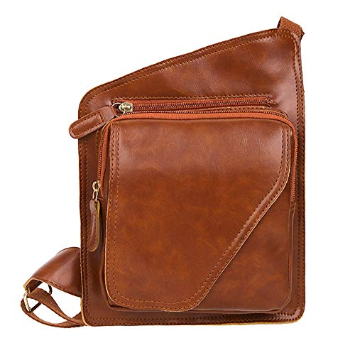 Beikoard borsa a tracolla per borsa a tracolla messenger in pelle di colore puro da uomo(marrone)