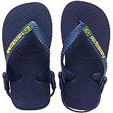 Havaianas Kinder Flip Flops Baby Brasil Logo Grösse 22 EU (20 Brazilian) Navy/Gelb Zehentrenner für Kinder