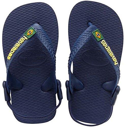 Havaianas Kinder Flip Flops Baby Brasil Logo Grösse 27/28 EU (25/26 Brazilian) Navy/Gelb Zehentrenner für Kinder (Flops Flip Baby)