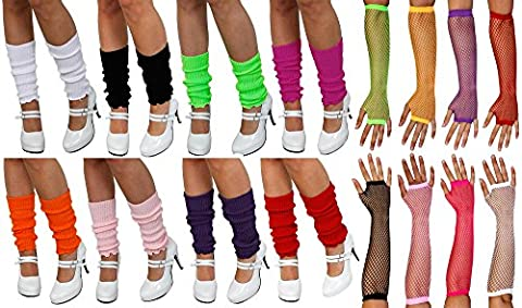1980S GREEN LEG WARMERS AND FISHNET GLOVES POPSTAR ICON NEON RAVE ROLLER DISCO