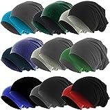 Slouch Long Beanie Reversible Strickmütze 2 in 1 Wintermütze in 48 Farben (dunkelgrau / schwarz)
