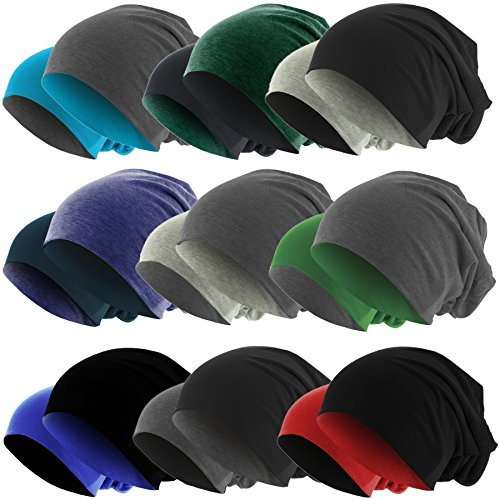 Slouch Long Beanie Reversible Strickmütze 2 in 1 Wintermütze in 48 Farben (dunkelgrau / schwarz) (Glatze-mütze)