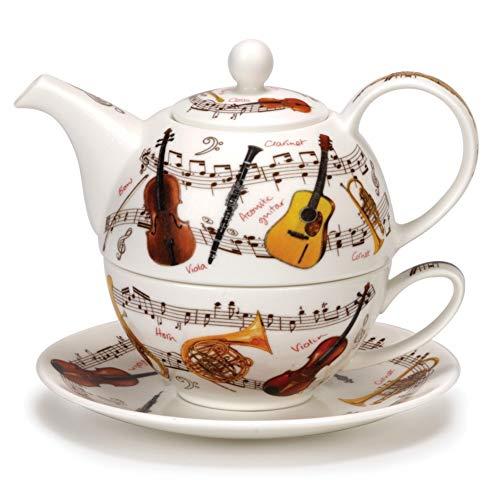 DUNOON Klassisches Muscial Instrument Fine Bone China Tee für eine Teekanne Cup Saucer Set Fine China Teapot