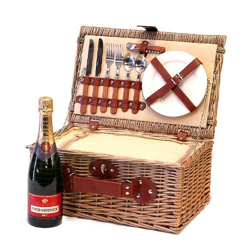 2 Person Chiller Picnic Hamper Wicker Basket with 75cl Piper-Heidsieck Champagne - Gift ideas for Valentines, Mothers Day, Christmas, Birthday, Anniversary, Corporate, Business and Congratulations Presents