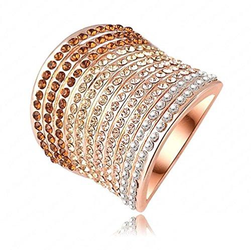 Fantastico anello largo con borsa in strass oro rosa 18carati, acciaio inossidabile, 8, colore: argento, cod. ri009
