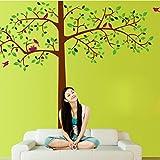 Romantische Baumwandaufkleber (Abnehmbar, Wasserdicht, Grün) für Wohnzimmer Schlafzimmer Büro Wohnheim Hintergrund Dekoration,Mehrfarben