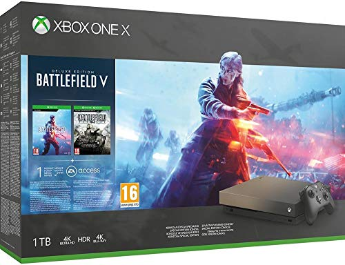 Xbox One X édition Spéciale Gold Rush (1 To) + Battlefield V