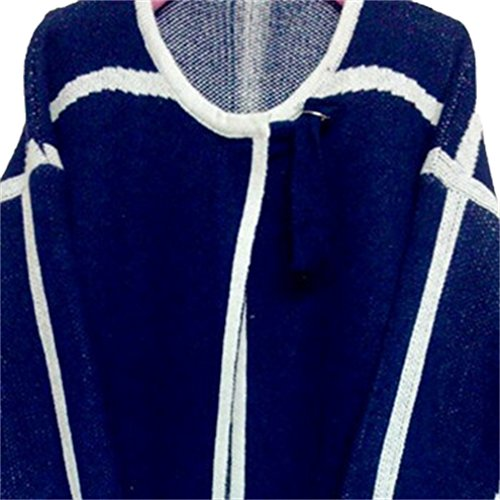Honghu Loose Manches Longues Collier V Garder au Chaud Pull Femme Casual Pullover Sweater Bleu