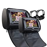 Liberi 2 cuffie a raggi infrarossi IR includono due auto poggiatesta CD Lettore DVD 7inch 800 * 480 LCD Screen Audio Black Leather-Style Car DVD / Multimedia poggiatesta sostenere telecomando USB di deviazione standard IR Trasmettitore FM