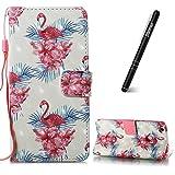 Flip Tasche Kompatibel mit Huawei P8 Lite 2017,Slynmax 3D s Lederhülle,Ledertasche Handyhülle Wallet Brieftasche Tasche Schutzhülle PU Leder Case Taschen Brieftasche Huawei P8 Lite 2017,Blume Flamingo
