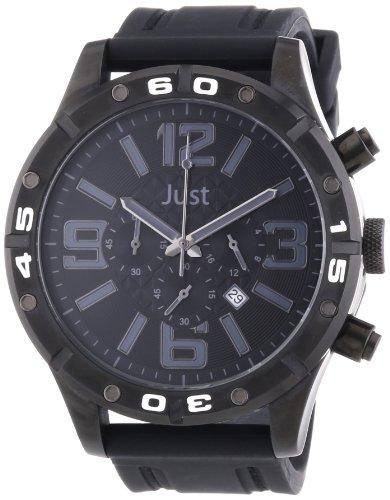 Just Watches 48-S3978-BK-BK - Orologio da polso uomo, caucciú, colore: nero