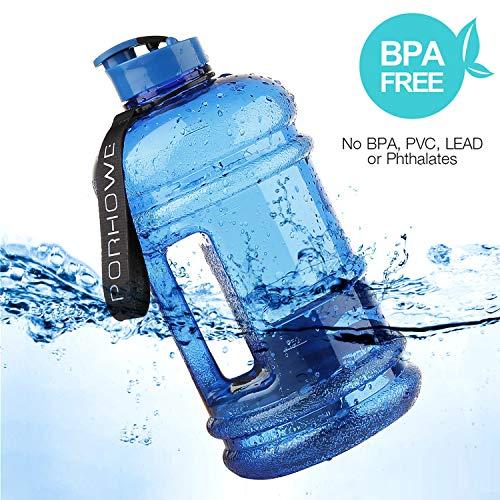 (PORHOWE 2,2Liter Sport Trinkwasser Flasche BPA-Frei Kunststoff Big Kapazität Große Lecksicher Wasser Krug Container mit, der Loop-Flasche für Outdoor Sports Fitness Gym Workout Wandern & Büro, Blau)