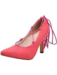 Damen Blend-Materialien Spitz Zehe Schnüren Gemischte Farbe Pumps Schuhe, Schwarz, 43 VogueZone009