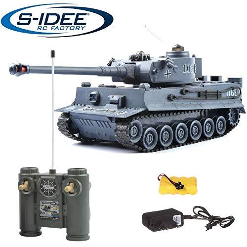 s-idee® 22002 Battle Panzer 99807 German Tiger 1:28 mit integriertem Infrarot Kampfsystem 2.4 Ghz RC R/C Ferngesteuerter Panzer Tank Kettenfahrzeug IR Schussfunktion Sound Licht