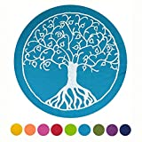 maylow - Yoga mit Herz ® Yogakissen Meditationskissen mit Stickerei Baum des Lebens Bezug und Inlett 100% Baumwolle mit Dinkelspelz gefüllt (türkis, Sitzhöhe 15)
