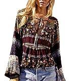 BHYDRY Sommer-Boho-Lange Hülsen-beiläufige Bluse der Mode-Frauen Lösen Lose Oberseiten-T-Shirt(XL,Kaffee)