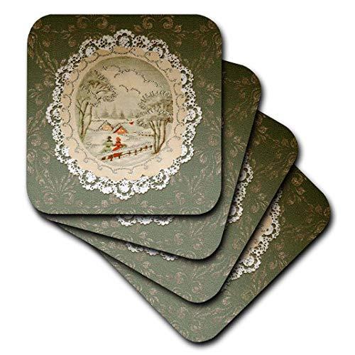 CST _ 195861Beverly Turner Weihnachten Design–Paar in Schnee Szene, Vintage Postkarte Look mit Spitze, Grün–Untersetzer, keramik, grün, set-of-4-Ceramic