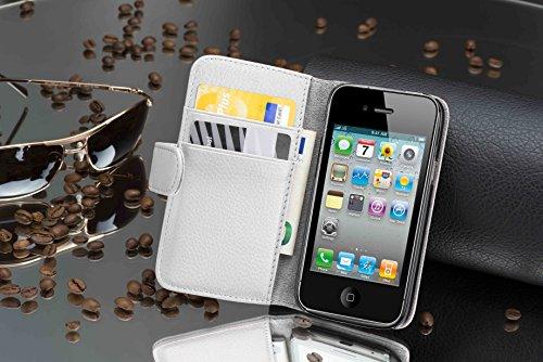 Cadorabo - Custodia Book Style Design Portafoglio per Apple iPhone 4 / 4S / 4G con Vani di Carte - Etui Case Cover Involucro Bumper in LILA-BORDEAUX BIANCO-FLOREALE