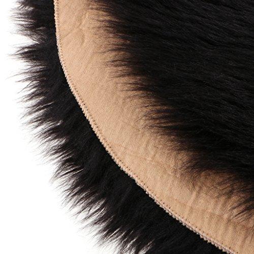 Baoblaze Shaggy Teppich Langflor Bereich Teppich Flauschige Fußmatte für Schlafzimmer Wohnzimmer Kinder Baby Kinderzimmer Sofa, 40x40x6 cm - Schwarz