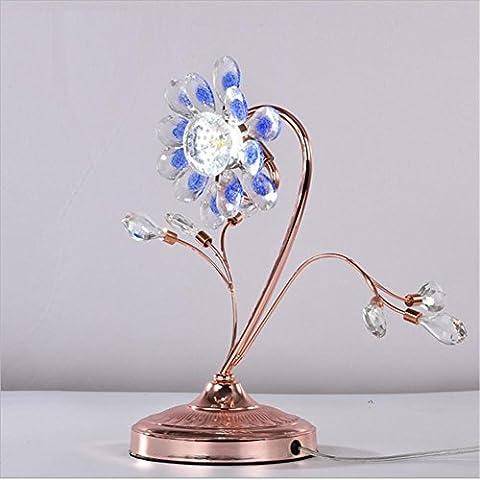 WSND Kreative Kristall-Blumen-LED Tischleuchte Schlafzimmer 3 Farbe Hochzeit Dekoration Tischlampe, 220V-240V