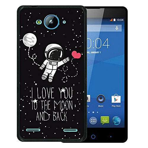 WoowCase ZTE Blade L3 Plus Hülle, Handyhülle Silikon für [ ZTE Blade L3 Plus ] Astronaut Herz - I Love to The Moon and Back Handytasche Handy Cover Case Schutzhülle Flexible TPU - Schwarz