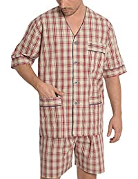 El Búho Nocturno Pijama de Caballero Corto clásico a Cuadros/Ropa de Dormir para Hombre