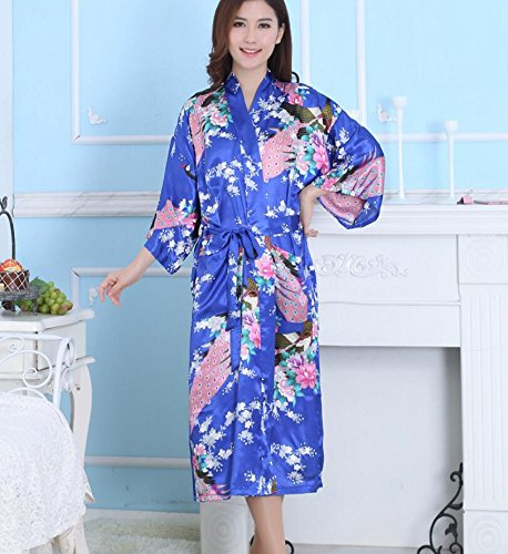 LJ&L Seide breathable Kleid Dame Sommer dünnen Abschnitt Simulation lose Qualität bequemen Nachtkleid,blue,XL Blue