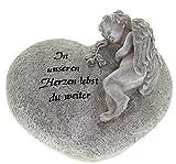 Grabfigur Grabschmuck Engel auf Herz Grabengel mit Spruch 16 cm