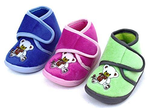 Baby/Kinder Motiv-Hausschuhe Farben:blau, pink,grün Gr. 19-27 sehr gut geeignet für Zuhause oder Kindergarten, biegsame Gummisohle Pink